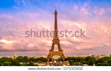 Beautiful view of famous Eiffel Tower in Paris, France. Paris Best Destinations in Europe. #1571321032