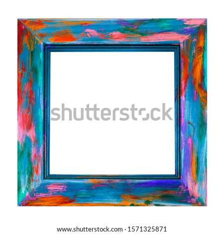 Wooden Picture Frame - Isolated - fun square art frame, in multicolor swirls, streaks and spashes of bright paint - creative  abstract design.