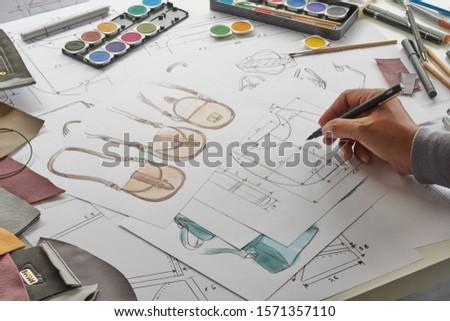 Designer stylish sketch Drawn design template pattern made leather clutch bag handbag purse Woman female Fashionable Fashion Luxury Elegant accessory.                                #1571357110