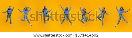 Collage of jumping carefree girl in blue knitted hat and scarf on yellow background, panorama #1571414602