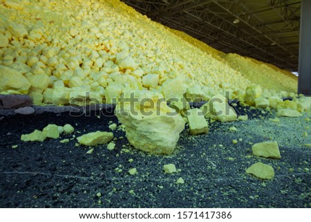 Pile (heap) of Yellow sulfur on sulfuric acid factory warehouse. Oil refinery plant. Close-up. #1571417386