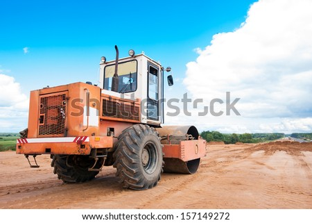 Soil compactor during road construction works #157149272