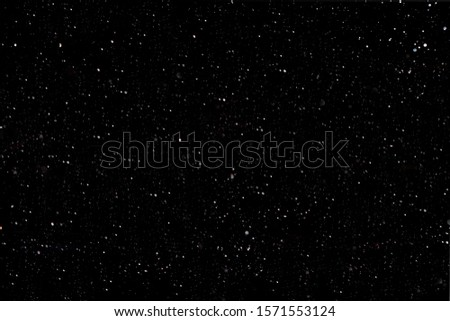 Christmas background and new year concept, textured blurred snow on a black background. Background image or layer to quickly create snow in the picture, overlay in the photo editor, out of focus