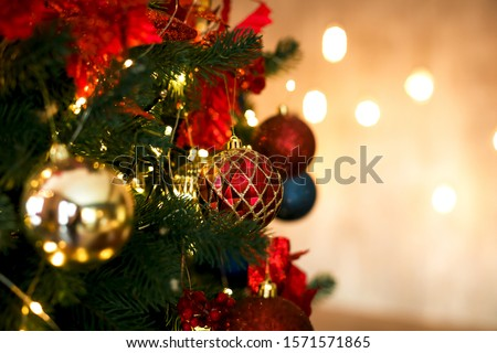 Red and gold balls of Christmas tree decoration in classic colors. #1571571865