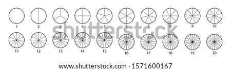 Segmented circles set isolated on a white background.Various number of sectors divide the circle on equal parts. Black thin outline graphics. #1571600167