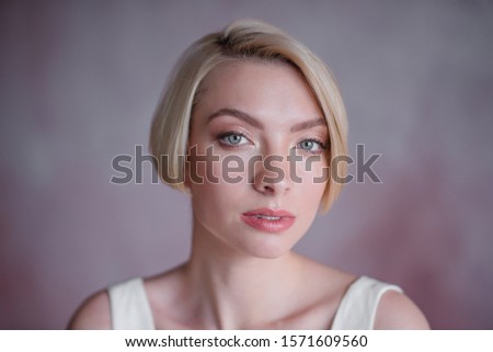 Modern beauty fashion bride. Bride with short blond hair. The bold image of the bride. #1571609560