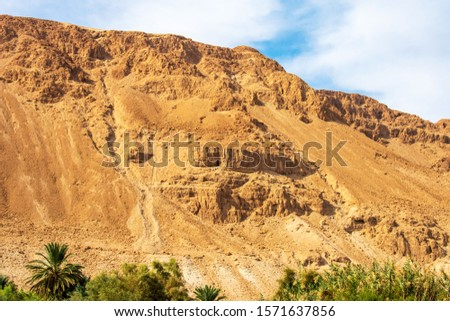 Mountain near the Dead Sea. Desert landscape in Qumran National Park.  #1571637856