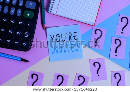 Word writing text You Re Invited. Business concept for make a polite friendly request to someone go somewhere Mathematics stuff and writing equipment above pastel colours background. #1571646220