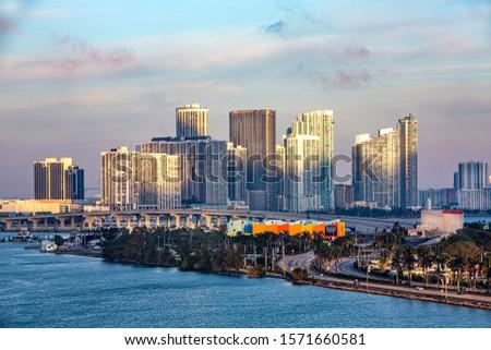 Miami MacArthur Causeway Panorama. USA  #1571660581