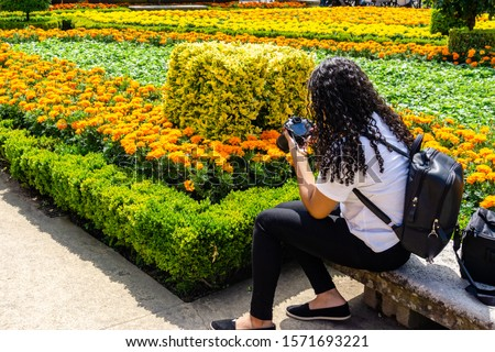 woman photographer taking picture of garden with camera.