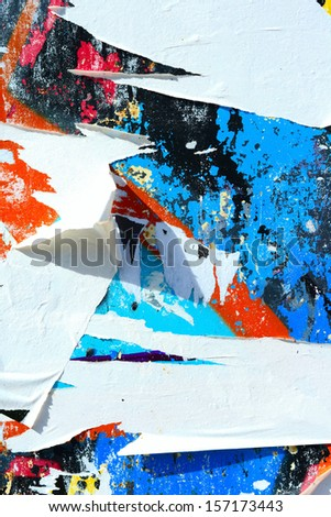 Peeling paint / Torn posters / Grunge background / Abstract / Graffiti / Ripped paper #157173443