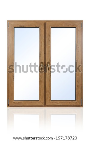 Plastic (wooden) window isolated on white background #157178720