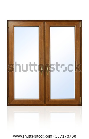 Plastic (wooden) window isolated on white background #157178738