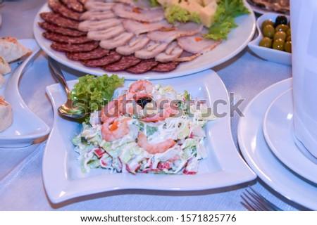A beautiful dish of a festive table, wedding treats. #1571825776