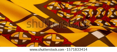 Background texture. silk bright fabric Mosaic geometric shapes Composition with colorful stained glass Grid design Illustration red yellow brown colors #1571833414