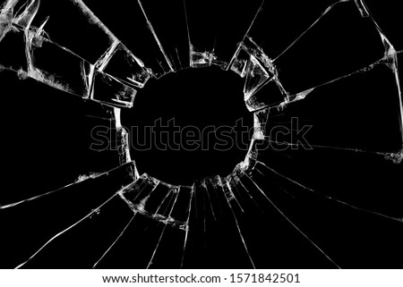 Broken glass craked on black background ,hi-resolution photo art abstract texture object design