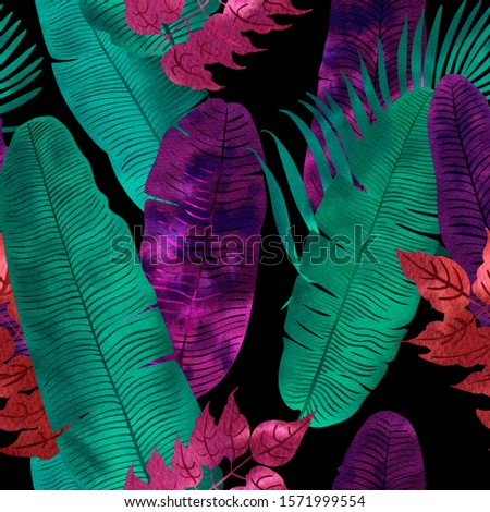 Pattern Neon tropical leaves of palm, monstera, fern. Pink, purple and blue plants on a black background. #1571999554