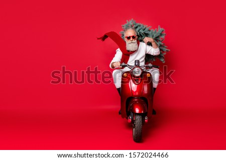 Full length photo of serious retired man carry fir tree drive bike have eyewear eyeglasses wear white sweater trousers boots isolated over red background #1572024466