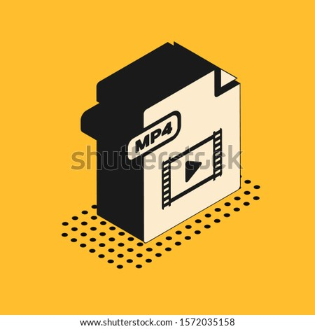 Isometric MP4 file document. Download mp4 button icon isolated on yellow background. MP4 file symbol.  Vector Illustration