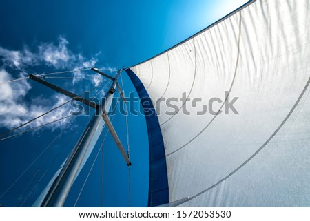 sails of a sailing yacht in the wind sailing on the ocean #1572053530