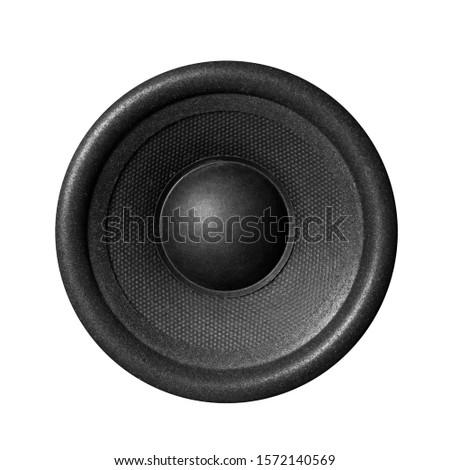 Black music speaker. Close up. Isolated on white background. #1572140569
