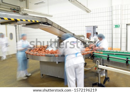 food industry workplace - butchery factory for the production of sausages - women working on the assembly line  #1572196219
