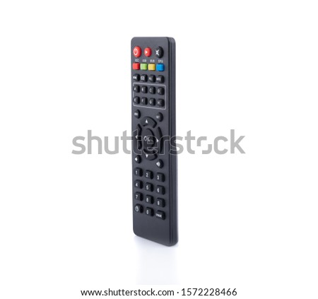 black multimedia television remote control isolated on white background #1572228466