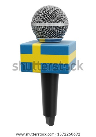 3d illustration. Microphone and Swedish flag. Image with clipping path