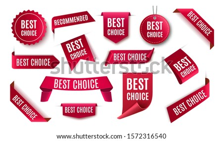 Best choice tags, vector red labels isolated on white background. Best choice 3d ribbon banners #1572316540