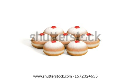 Hanukkah fresh bakery doughnut.  Traditional Chanukah donuts 'sufganiyah' isolated on white background, front view. Jewish pastry donut with jam, jelly topping, Hanukkah dessert.