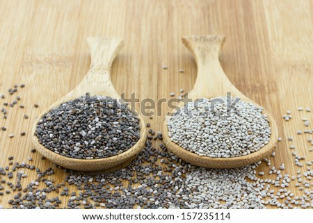 black and white chia seeds on wooden spoon #157235114