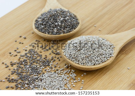 black and white chia seeds on wooden underground #157235153
