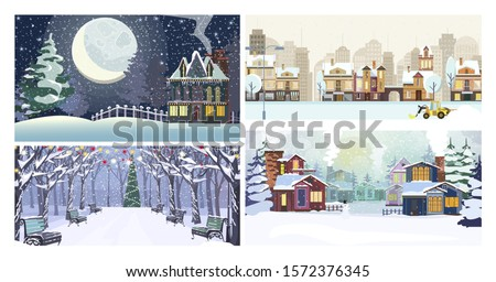 Winter city flat vector illustration set. Winter city landscape with snow, cozy houses, moon, park, Christmas tree. Tourism and nature concept #1572376345