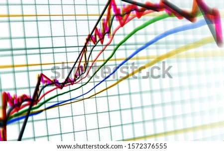 Stock exchange trade chart bar candles macro close-up. Background with stock diagram on monitor. #1572376555