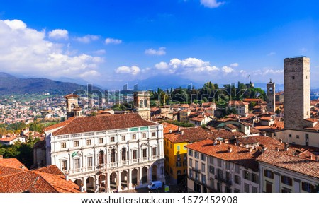 Travel and landmarks of northern Italy - medieval Bergamo. Panoramic view of old town #1572452908