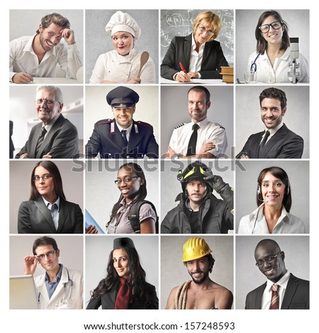 mosaic of people doing different professions Royalty-Free Stock Photo #157248593