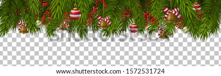 Christmas border template with fir branches, pine cones, decorations and bells. Isolated vector illustration #1572531724
