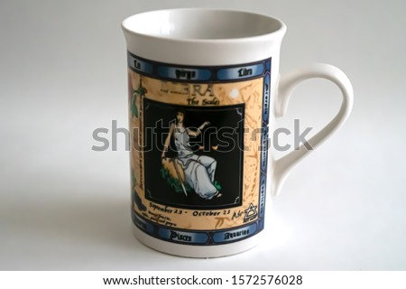 Virgo cup. A White cup with virgo picture.