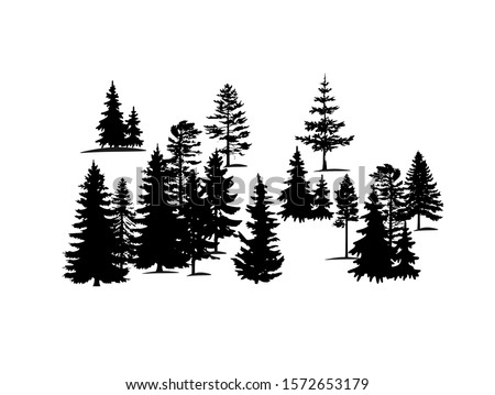 Forest trees silhouette vector background. Stencil of pine,fir,cypress.Christmas tree drawing.Winter spruces landscape border banner design.Wooden decor element for Happy new year isolated on white.