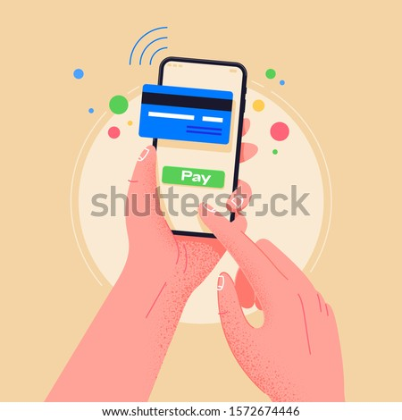 Pay by credit card via electronic wallet wirelessly on phone. New mobile banking app and e-payment vector illustration. Hand with smartphone  online banking. Shopping by phone and connected card. #1572674446