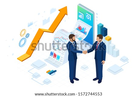 Isometric Business to Business Marketing, B2B Solution, business marketing concept. Online business, Partnership and Agreement #1572744553