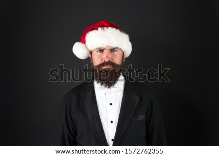 Financial report. Manager ready celebrate new year. Christmas party office. Corporate holiday party ideas. Corporate christmas party. Man bearded hipster wear santa hat. Christmas spirit concept. #1572762355