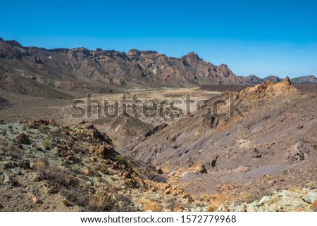 View of the beautiful and largest volcano crater at Mount Teide from Los Azulejos viewpoint - Santa Cruz de Tenerife, Canary Islands, Spain #1572779968