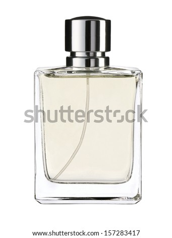 Cologne water / studio photography of transparent bottle with essence - isolated on white background  #157283417