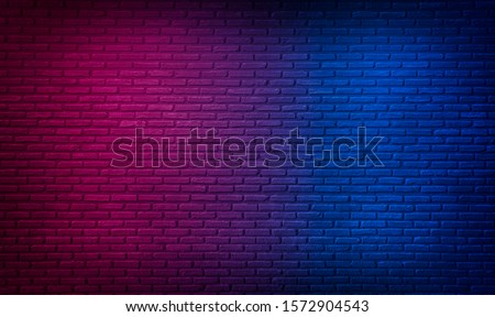 Lighting Effect red and blue on brick wall for background party happy new year happiness concept , For showing products or placing products #1572904543
