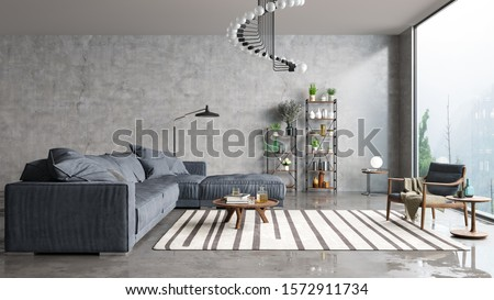 Modern interior design of a living room in an apartment, house, office, comfortable sofa, bright modern interior details and light from a window on a concrete wall background. #1572911734