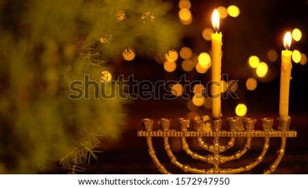 The First Night of Hanukkah. One light in the menorah. Chanukah is the Jewish Festival of Lights
