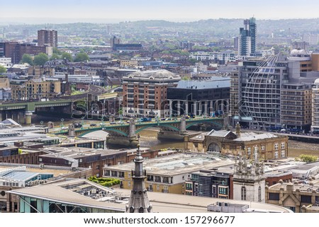 Aerial View of London from a viewing platform of St Paul Cathedral, London, UK #157296677