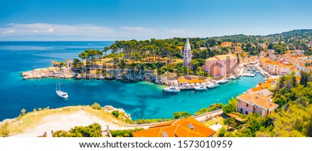 Scenic view of the blue lagoon village Veli Losinj on sunny day. Location place Kvarner Gulf, island Losinj, Croatia, Europe. Drone photography. Summer vacation concept. Discover the beauty of earth. #1573010959