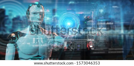 White humanoid robot on blurred background using digital technological interface with datas 3D rendering #1573046353